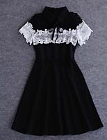 простой демонстрационный выход / праздник сексуальное / мило платье оболочки, твердая шея экипажа длиной до колена с коротким рукавом белый