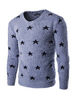 Men's Print Casual Pullover,Wool Long Sleeve Blue / Gray