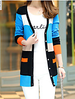Women's Going out / Casual/Daily Street chic Regular Cardigan,Color Block Blue / Red / Orange V Neck Long Sleeve
