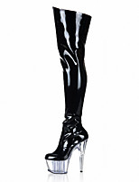 Women's With  fine Boots/The stage Heels Boots/Fashion Boots/Club Party  /15cm sexy Knee Boots/Transparent crystal shoes