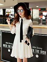 Women's Going out / Casual/Daily / Holiday Simple / Cute A Line Dress,Solid Shirt Collar Above Knee ¾ Sleeve
