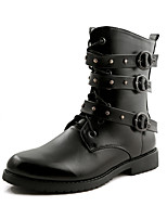 Men's Boots Spring Fall Winter Others Leather Casual Flat Heel Lace-up Black Others
