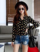 Women's Going out / Casual/Daily / Work Cute / Street chic / Sophisticated Shirt,Print Shirt Collar Long Sleeve