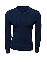 Men's Solid Casual Pullover,Wool Long Sleeve Blue / Red / Gray