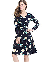 Women's Plus Size / Casual/Daily / Work Street chic Sheath DressFloral Round Neck Knee-length Long Sleeve