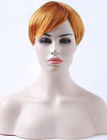 Capless Orange Wig Short Straight Synthetic Hair Wigs for White Woman Daily Life