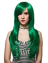 o nível adutor longo verde cabelo liso, perucas de moda.