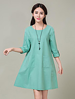 Women's Plus Size Street chic Loose Dress,Solid Round Neck Above Knee Long Sleeve Linen Spring / Fall
