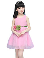 Girl's Casual/Daily Solid DressLinen Summer Blue / Pink / Beige