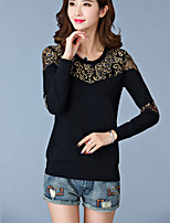 Women's Casual/Daily Simple Summer T-shirt,Patchwork Sweet Round Neck Long Sleeve Blue / Black Cotton Thin