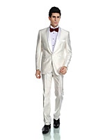 Tuxedos Tailored Fit Shawl Collar Single Breasted Polyester/Rayon(T/R) / Wool & Polyester Blended Solid 2 Pieces