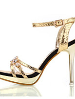 Women's Sandals Summer Heels Leatherette Outdoor Stiletto Heel Crystal Silver / Gold Others