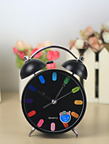 4.5 inch modern design fashion iron bell alarm clock silent clock mechanism with backlight frozen table clock