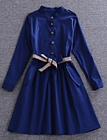 Boutique S Going out /Daily /Sexy/ Street chic Sheath Dress,Solid Shirt Collar Above Knee Long Sleeve Blue Cotton