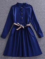 Damen Hülle Kleid-Ausgehen / Lässig/Alltäglich / Urlaub Sexy / Einfach / Street Schick Solide Hemdkragen Übers Knie Langarm Blau Baumwolle