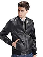 Men's Long Sleeve Casual / Sport Jacket,PU Solid Black / Blue / Yellow