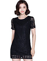 Summer Casual/daily Women's Dresses Round Neck Short Sleeve Solid Color Slim Lace Dress