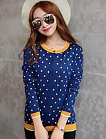 Damen Standard Strickjacke-Lässig/Alltäglich Einfach Punkt Blau / Orange Rundhalsausschnitt Langarm Baumwolle Frühling Mittel
