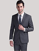 Suits Standard Fit Notch Single Breasted Two-buttons Wool Solid 2 Pieces Gray Straight Flapped
