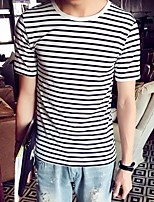 Men's Striped Casual / Sport / Plus Sizes T-Shirt,Cotton Short Sleeve-Black / White
