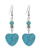 Bohemian Tibetan Silver Drop Earring Vintage Boho Heart Shape Turquoise Dangle Earrings Jewelry For Women