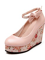 Women's Shoes PU Summer / Fall Wedges / Round Toe Heels Office & Career / Casual Wedge Heel Bowknot Pink / White