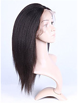 8-26 Inch 100% Brazilian Virgin Hair Lace Front Wig Yaki Kinky Straight Wigs for Black Women Natural Black Color
