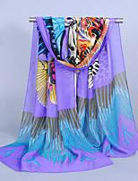 Women's Chiffon Butterfly Print Scarf,Blue/Purple/Red/Yellow