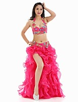 Belly Dance Outfits Women's Performance Polyester Split Front 3 Pieces Belly Dance Sleeveless
