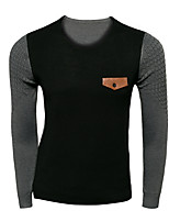 Men's Patchwork Casual Pullover,Wool Long Sleeve Black / Green / Red / Gray