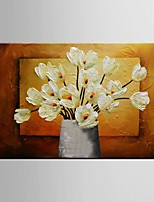 Ready to Hang Stretched Frame Hand-Painted Oil Painting Canvas Wall Art Abstract Flower Home Office Decor