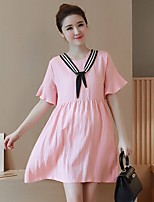 Maternity Casual/Daily Simple Loose Dress Round Neck Above Knee Short Sleeve Blue Linen Summer