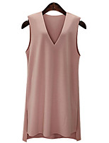 Women's Plus Size Street chic Shift Dress,Solid V Neck Knee-length Sleeveless Blue / Pink Cotton Summer