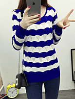 Women's Casual/Daily Simple Regular Pullover,Striped Round Neck Long Sleeve CottonFall /