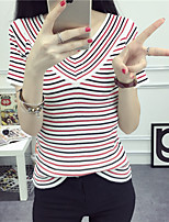 Women's Casual/Daily Simple Regular Pullover,Striped Red / Black / Yellow V Neck Short Sleeve Cotton Spring Thin