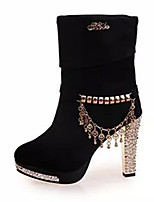Women's Boots Summer Fashion Boots Fleece Casual Chunky Heel Beading Black / Blue Others