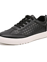 Men's Flats Spring / Fall Round Toe PU Casual Flat Heel Others / Lace-up Black / White Others
