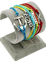 Retro Style Multilayer Rainbow Color Anchor Love Faith Weave Wrap Bracelet