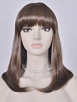 de color marrón de la moda las mujeres pelucas rectas europeas y americanas medias pelucas sintéticas