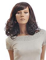 vente chaude brun couleur moyennes femmes ondulées européennes perruques synthétiques