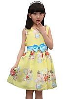 Menina de Vestido,Casual Floral Algodão Verão Amarelo