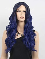 Women's Fashion Black Blue Ombre Color Long Wavy Synthetic Wigs For Women Wig.