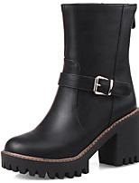 Women's Shoes Boots Spring/Fall/Winter Heels/Bootie/Round Toe Office & Career/Casual Chunky Heel Buckle/Zipper Black