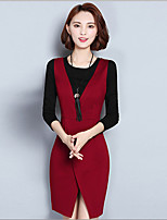 Women's Plus Size / Going out Street chic A Line Dress,Patchwork Round Neck Above Knee Long Sleeve  Polyester Fall