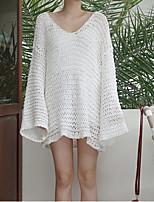 Damen Standard Pullover-Ausgehen / Lässig/Alltäglich Einfach Solide Weiß V-Ausschnitt Langarm Baumwolle Herbst Mittel Unelastisch