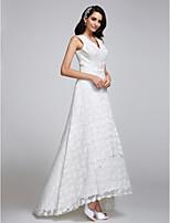 A-라인 웨딩 드레스 비대칭 V-넥 레이스 와 레이스