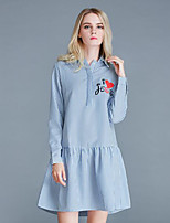 Women's wear the spring and autumn period and the large size lattice embroidered big yards dress