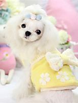 Собаки Платья Синий / Розовый / Желтый Одежда для собак Зима / Весна/осень Однотонный / Бант На каждый день Other