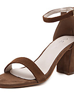 Women's Sandals Summer Sandals / Open Toe Leather Casual Chunky Heel Others Black / Brown / Red / Silver / Almond Others