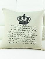 Crown Print Cotton/Linen Pillow Cover